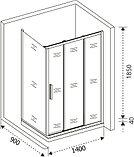 Душевой уголок Good Door Orion WTW+SP-C-CH 140x90, фото 5