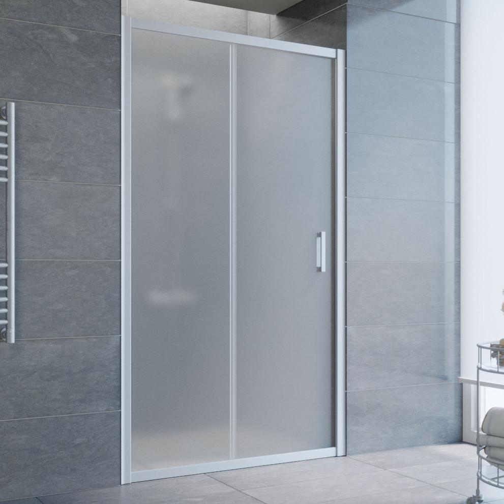 Душевая дверь в нишу Vegas Glass ZP 105 07 10 профиль матовый хром, стекло сатин