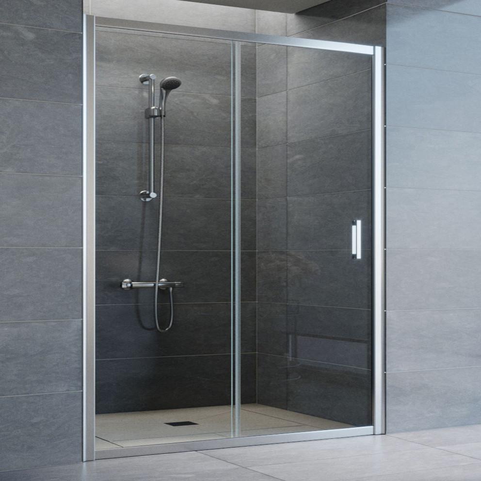Душевая дверь в нишу Vegas Glass ZP 150 08 01 профиль глянцевый хром, стекло прозрачное