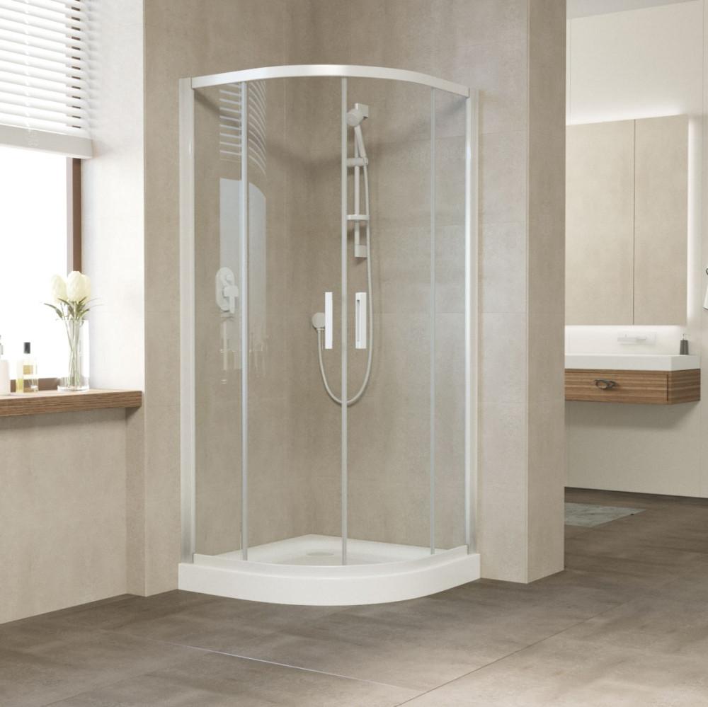 Душевой уголок Vegas Glass ZS 100 01 01 профиль белый, стекло прозрачноe
