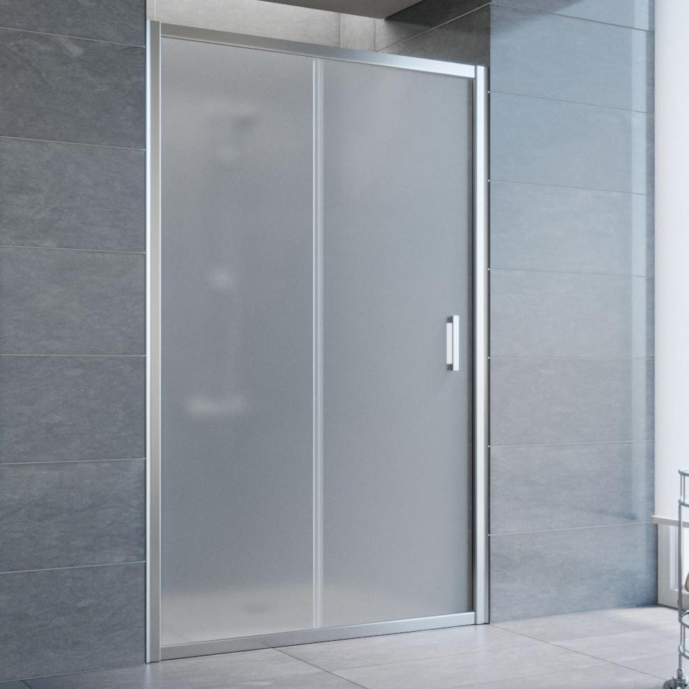 Душевая дверь в нишу Vegas Glass ZP 120 08 10 профиль глянцевый хром, стекло сатин