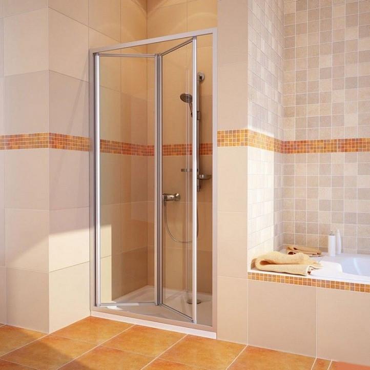 Душевая дверь в нишу GuteWetter Practic Door GK-404 левая (78-82)x190 стекло бесцветное, профиль мат. хром