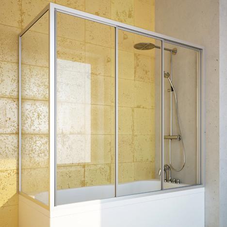 Шторка на ванну GuteWetter Practic Part GV-413 правая 165x75 см стекло бесцветное, профиль матовый хром
