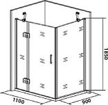 Душевой уголок Good Door Saturn WTW+SP левый 110х90х185 см, фото 4