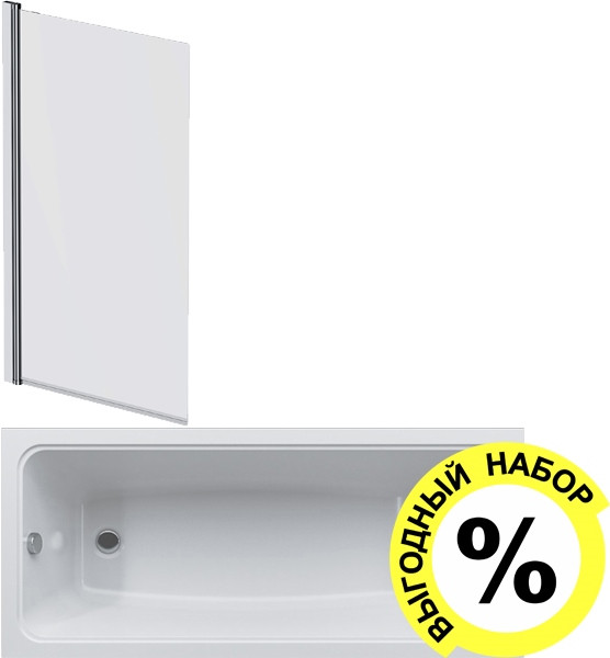 Акриловая ванна AM.PM Gem W90A-170-075W-A с каркасом + шторка на ванну + сертификат IVI AM.PM