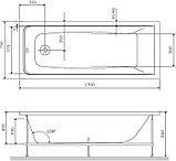 Акриловая ванна AM.PM Gem W90A-170-075W-A с каркасом + шторка на ванну + сертификат IVI AM.PM, фото 7