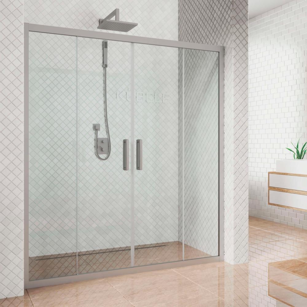 Душевая дверь в нишу Kubele DE019D4-CLN-MT 155 см, профиль матовый хром