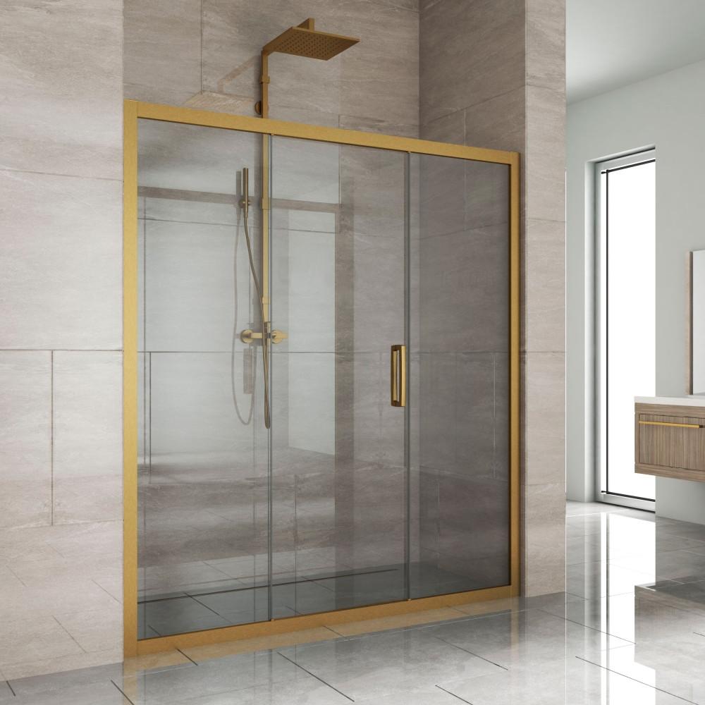 Душевая дверь в нишу Kubele DE019D3-CLN-BR 160 см, профиль бронза