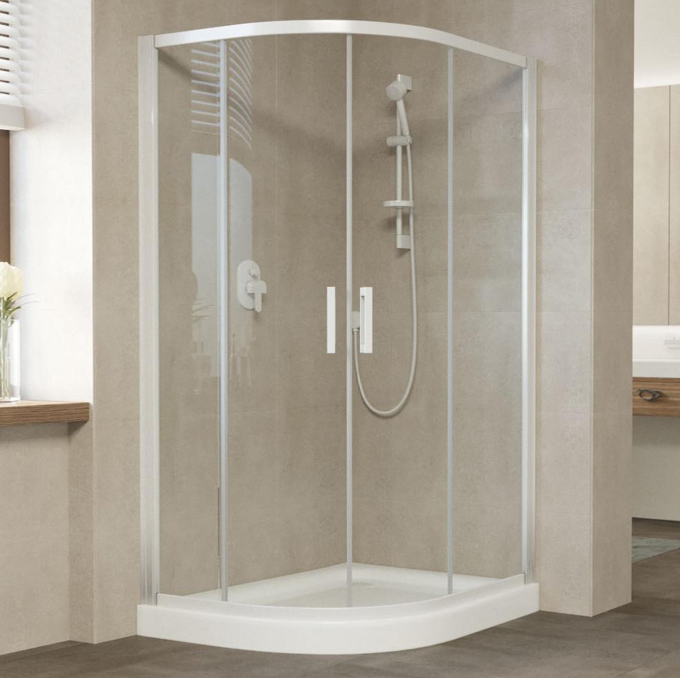 Душевой уголок Vegas Glass ZS-F 120*80 01 01 профиль белый, стекло прозрачное