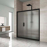 Душевая дверь в нишу Kubele DE019D3-MAT-BLMT 160 см, профиль матовый черный, фото 2