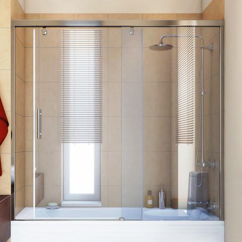 Шторка на ванну GuteWetter Slide Part GV-862 правая 170 см стекло бесцветное, профиль хром