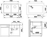 Мойка кухонная Blanco Subline 350/350-U черная, фото 2