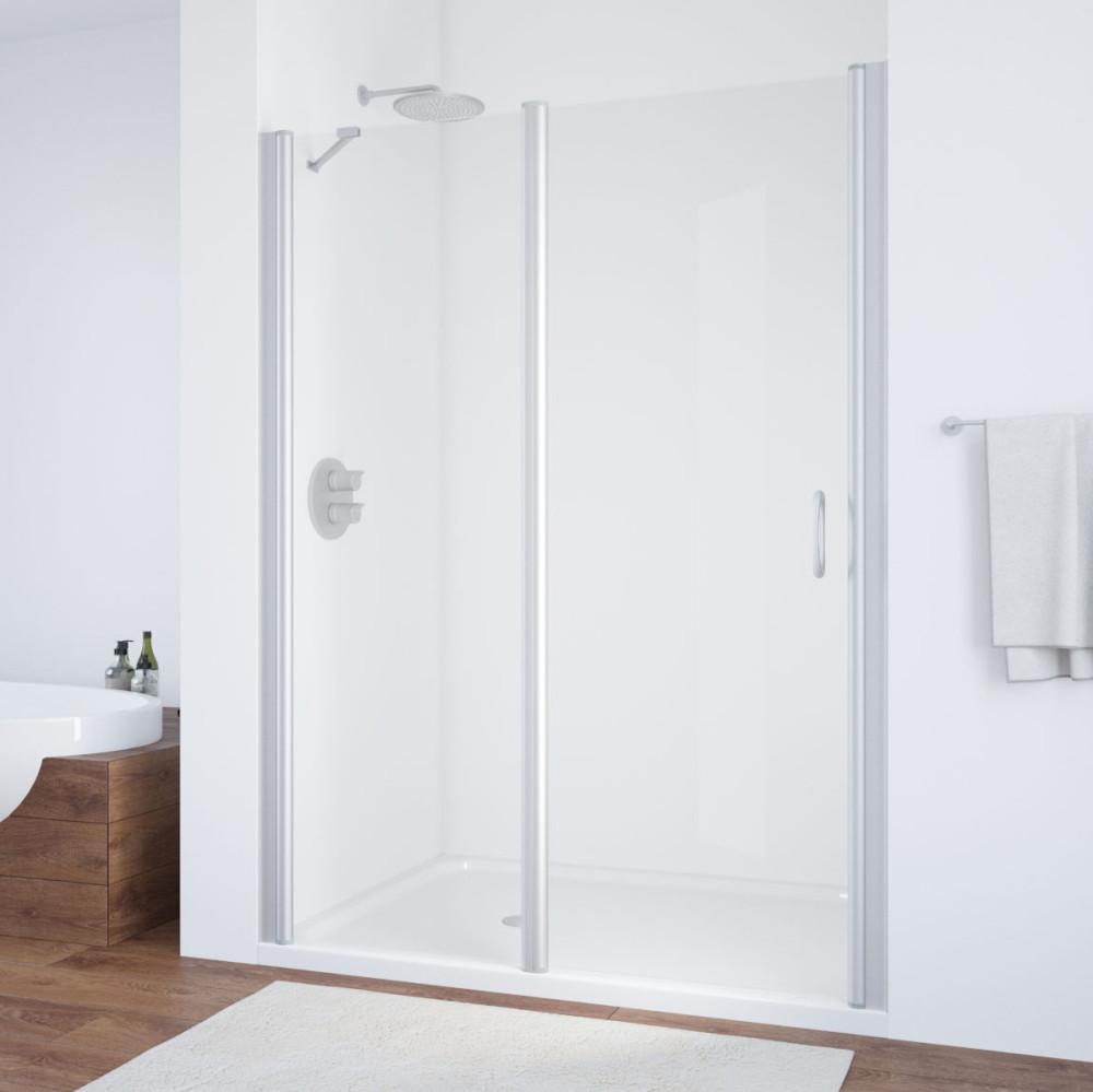 Душевая дверь в нишу Vegas Glass EP-F-1 155 07 01 L профиль матовый хром, стекло прозрачное