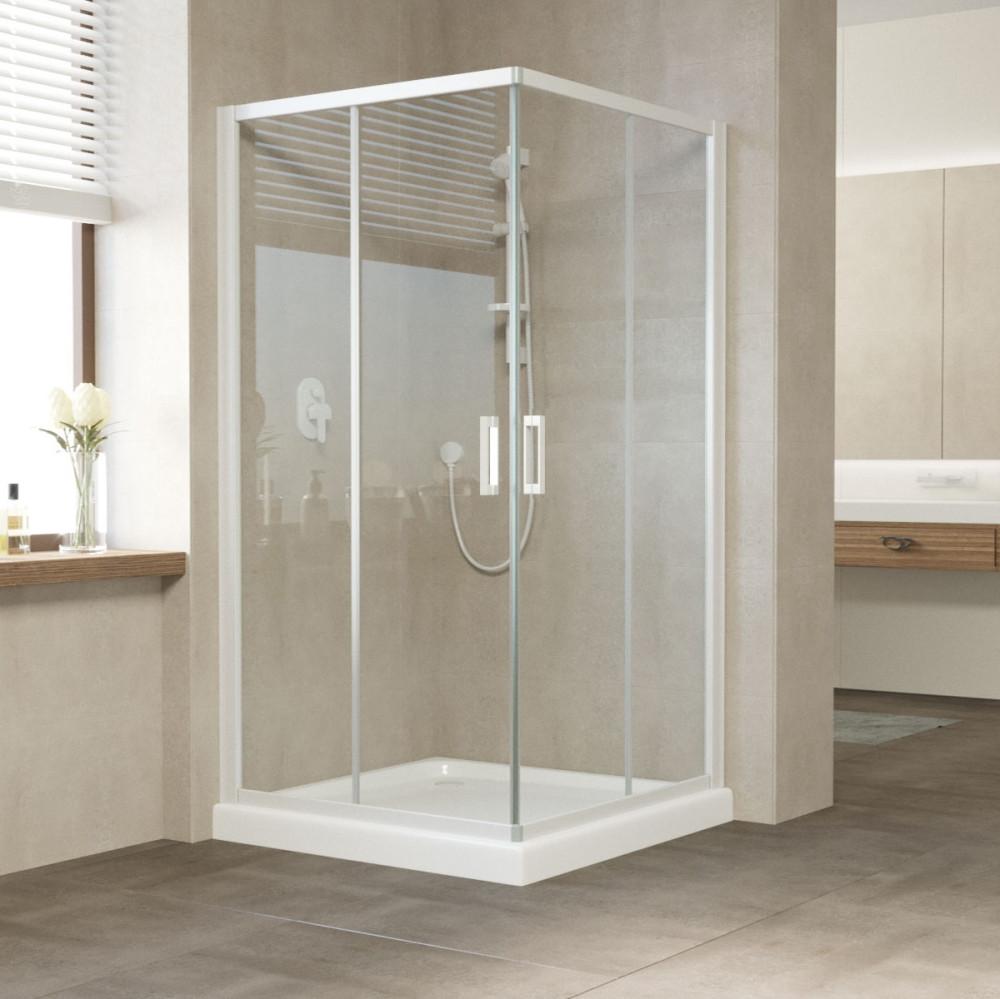 Душевой уголок Vegas Glass ZA 110 01 01 профиль белый, стекло прозрачное