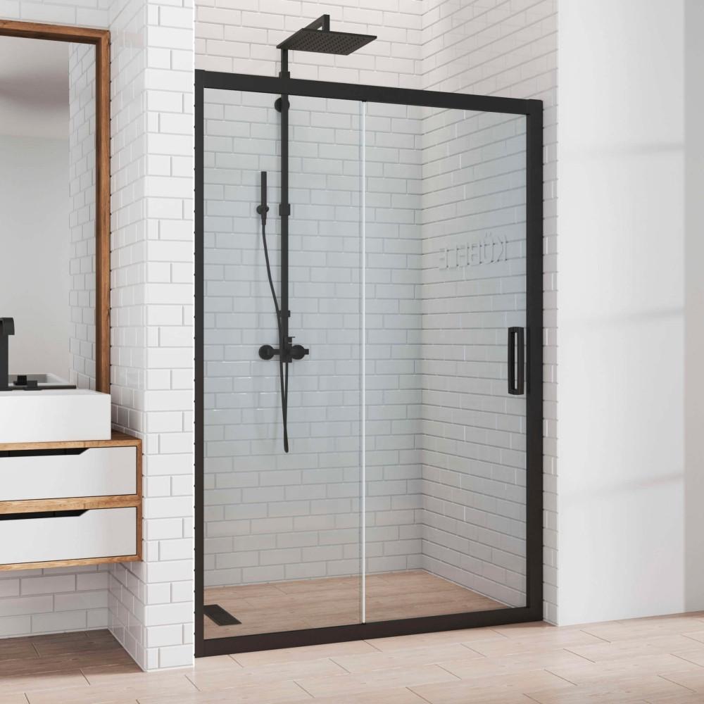 Душевая дверь в нишу Kubele DE019D2-CLN-BLMT 155 см, профиль матовый черный