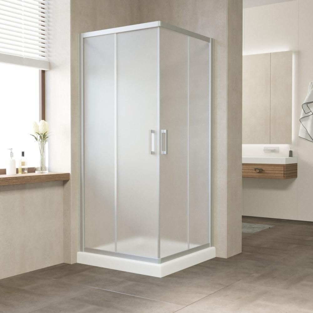 Душевой уголок Vegas Glass ZA 80 07 10 профиль матовый хром, стекло сатин