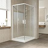 Душевой уголок Vegas Glass ZA-F 90*80 01 01 профиль белый, стекло прозрачное, фото 2