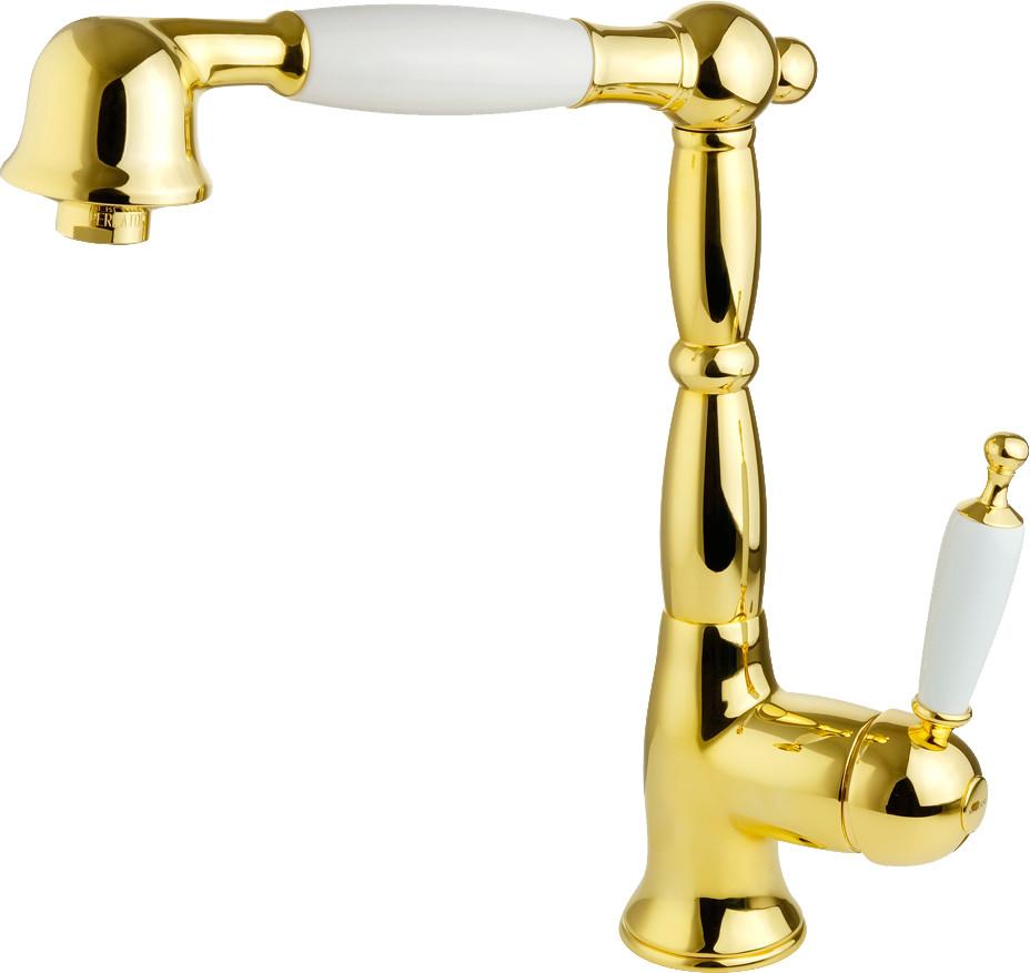Смеситель Migliore Oxford ML.CUC-6388.BI.DO для кухонной мойки, золото, белый
