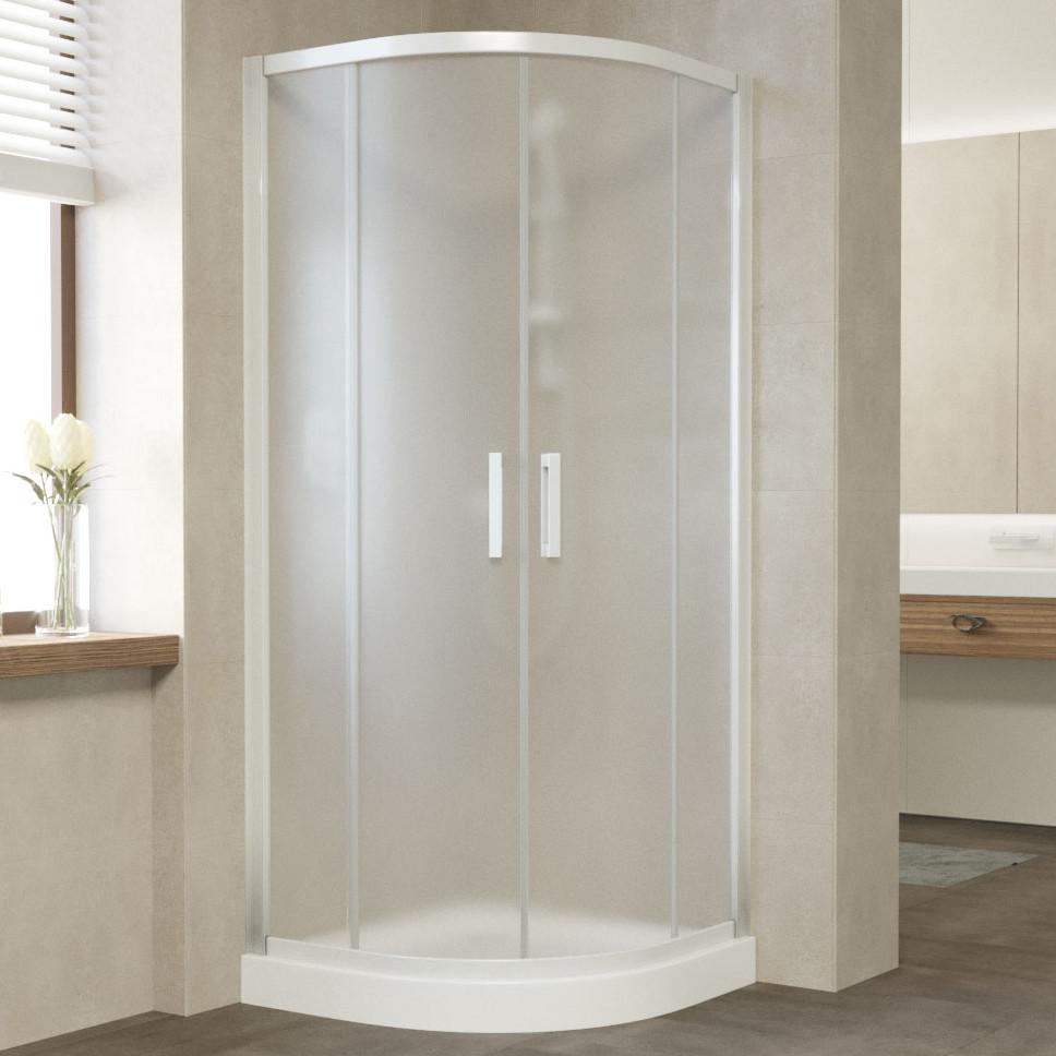 Душевой уголок Vegas Glass ZS 80 01 10 профиль белый, стекло сатин