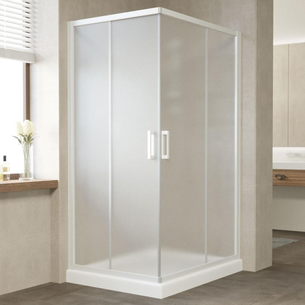 Душевой уголок Vegas Glass ZA-F 100*80 01 10 профиль белый, стекло сатин