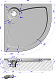 Поддон для душа GuteWetter Deluxe 80x80x2 R белый, фото 4
