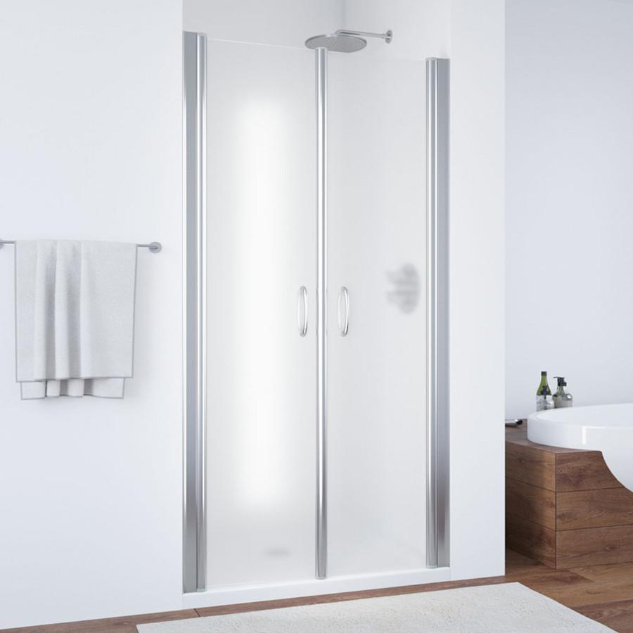 Душевая дверь в нишу Vegas Glass E2P 80 08 10 профиль глянцевый хром, стекло сатин