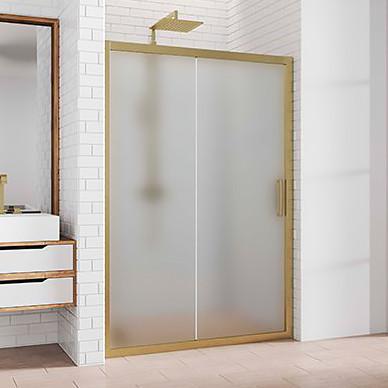 Душевая дверь в нишу Kubele DE019D2-MAT-BR 145 см, профиль бронза