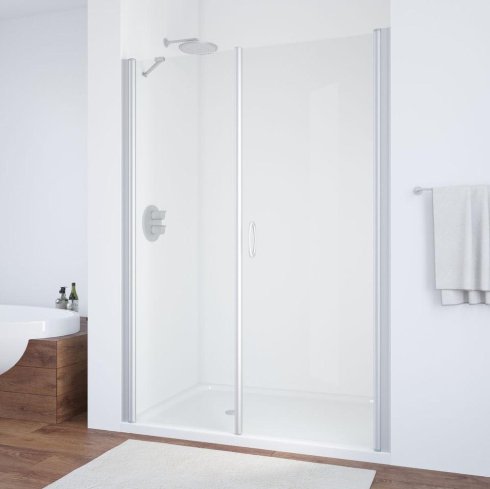 Душевая дверь в нишу Vegas Glass EP-F-2 165 07 01 R профиль матовый хром, стекло прозрачное