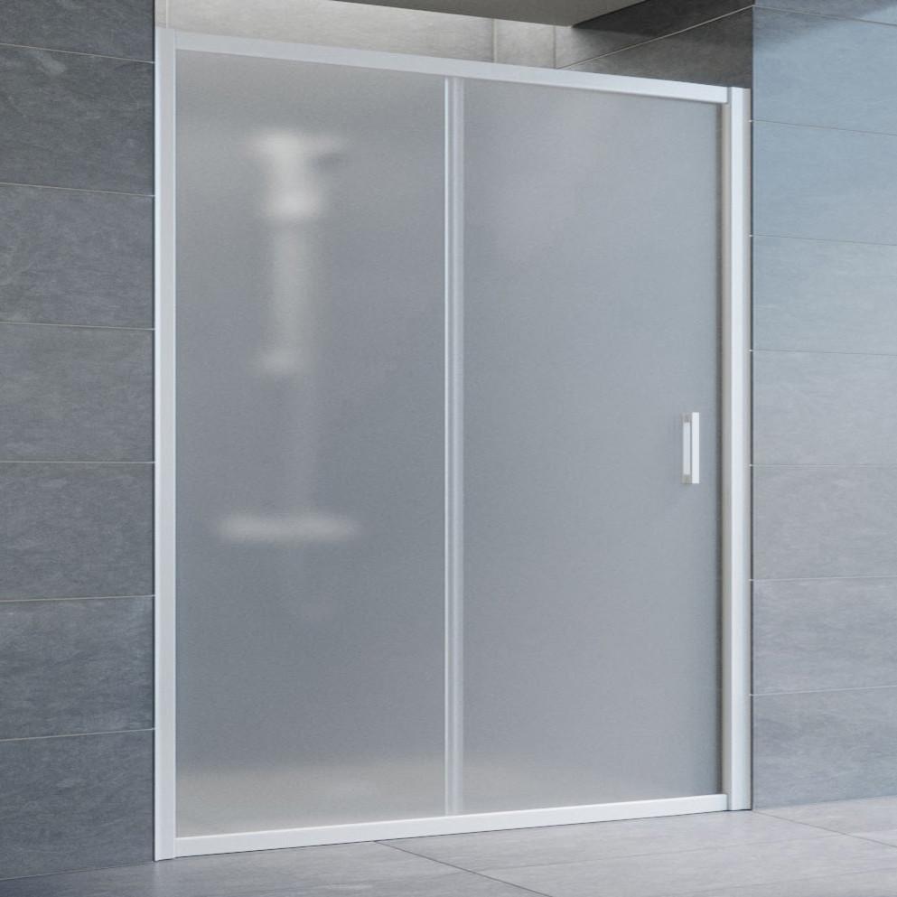 Душевая дверь в нишу Vegas Glass ZP 160 01 10 профиль белый, стекло сатин