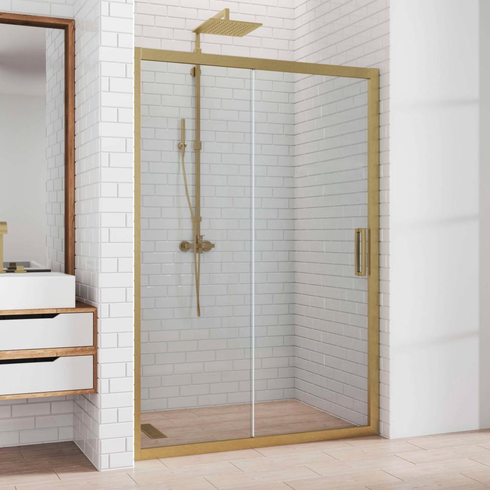 Душевая дверь в нишу Kubele DE019D2-CLN-BR 150 см, профиль бронза