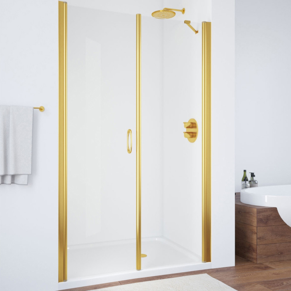 Душевая дверь в нишу Vegas Glass EP-F-2 110 09 01 L профиль золото, стекло прозрачное