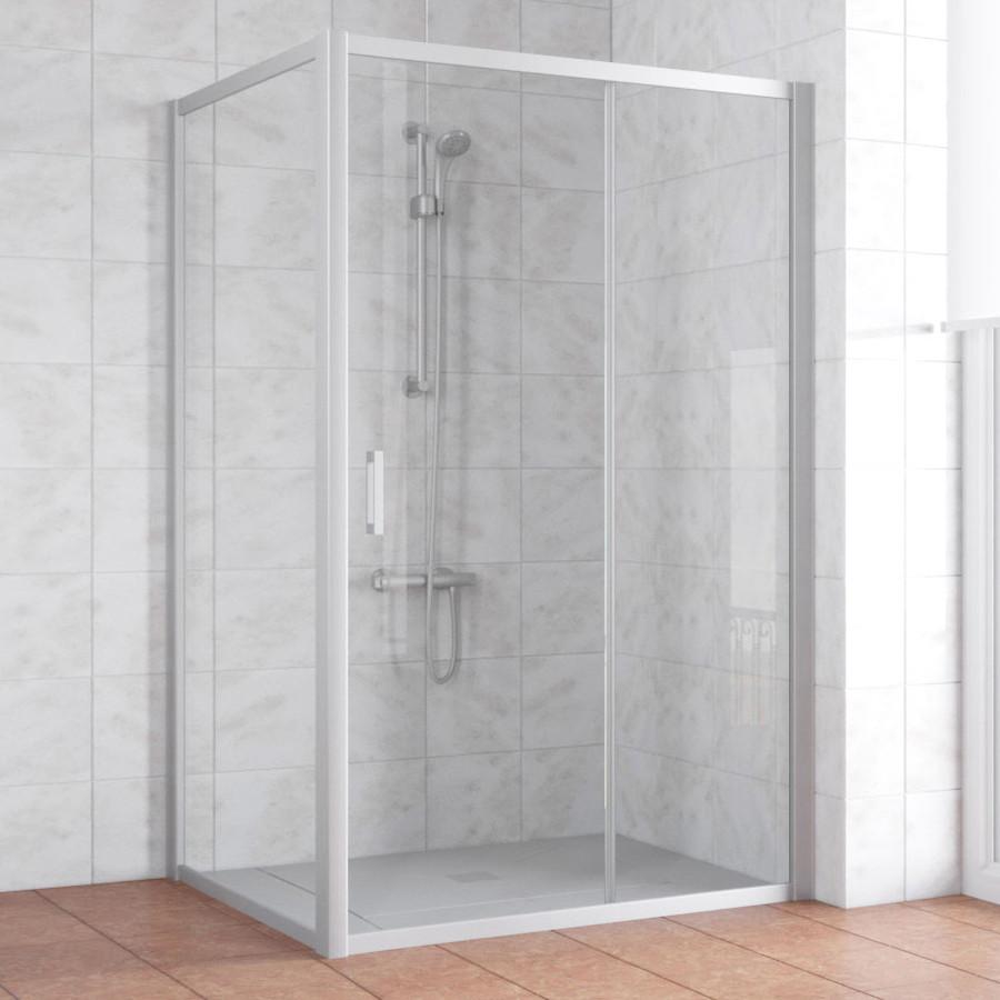 Душевой уголок Vegas Glass ZP+ZPV 140*90 07 01 профиль матовый хром, стекло прозрачное