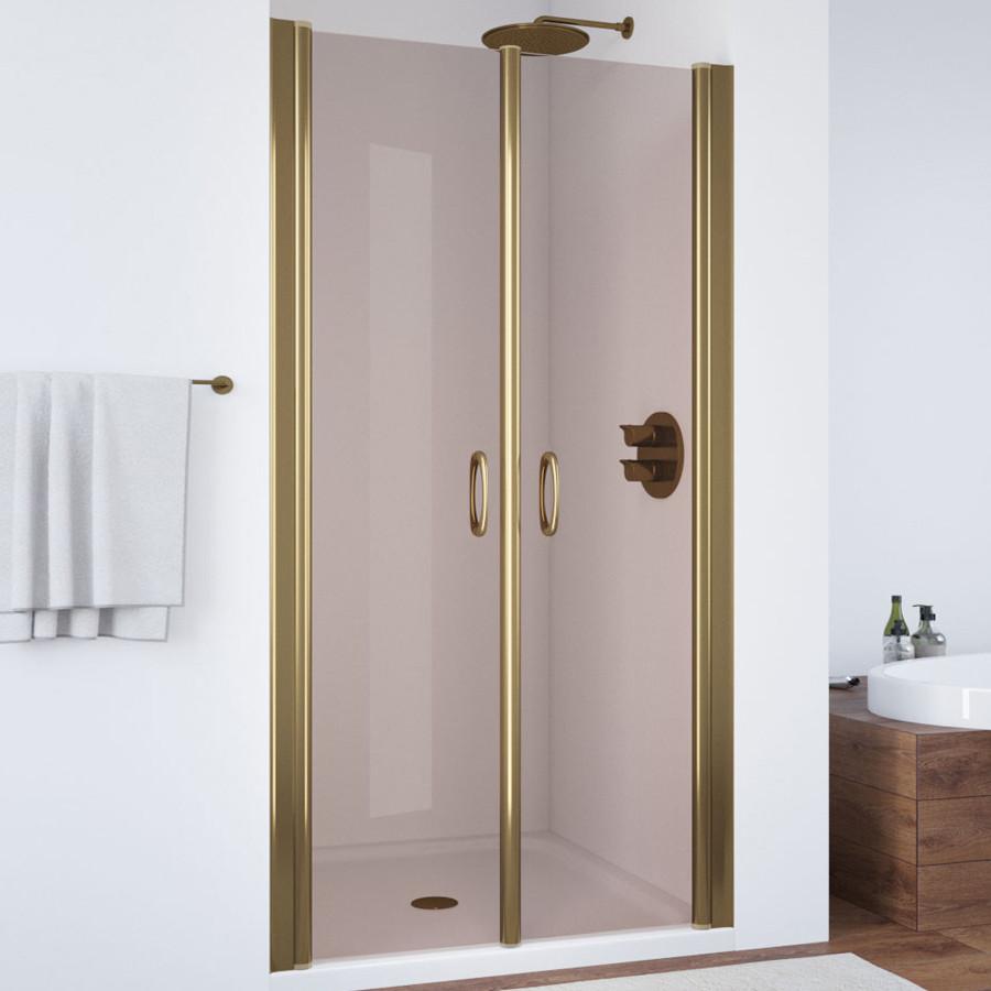 Душевая дверь в нишу Vegas Glass E2P 90 05 05 профиль бронза, стекло бронза