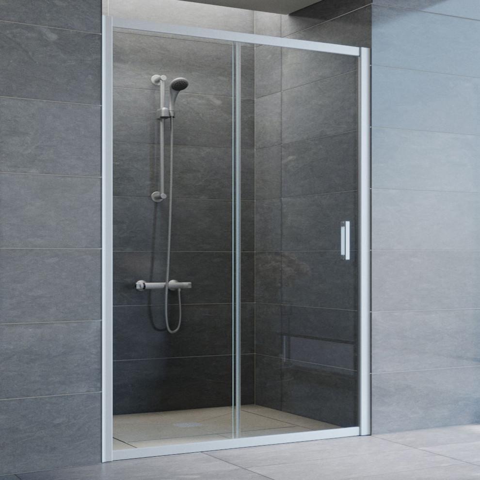 Душевая дверь в нишу Vegas Glass ZP 135 07 01 профиль матовый хром, стекло прозрачное