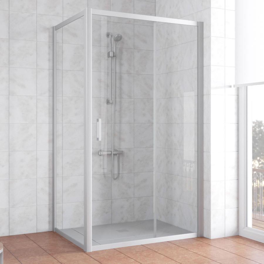 Душевой уголок Vegas Glass ZP+ZPV 110*80 07 01 профиль матовый хром, стекло прозрачное