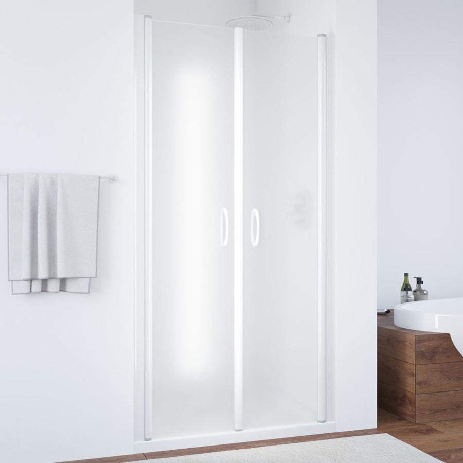 Душевая дверь в нишу Vegas Glass E2P 90 01 10 профиль белый, стекло сатин