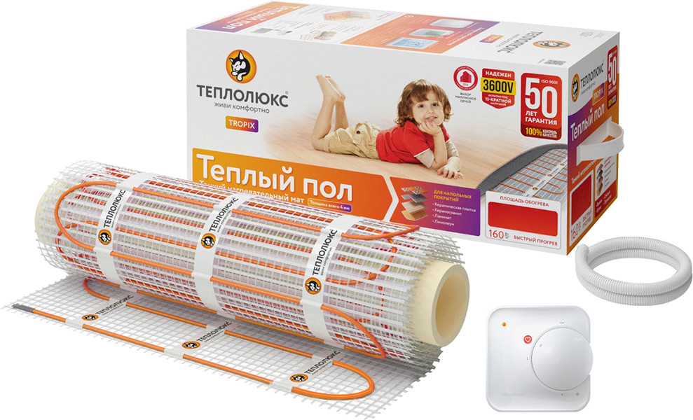 Теплый пол Теплолюкс Tropix МНН 800-5,0 + терморегулятор