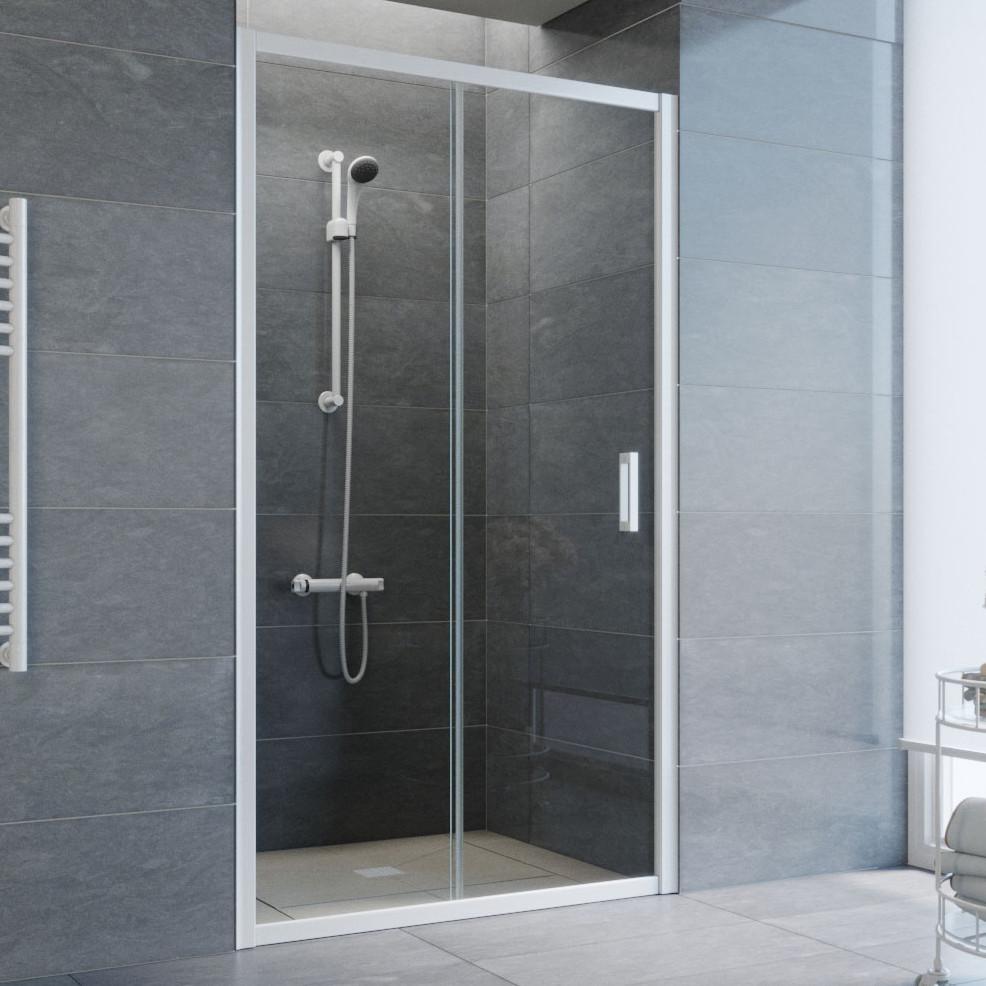 Душевая дверь в нишу Vegas Glass ZP 105 01 01 профиль белый, стекло прозрачное