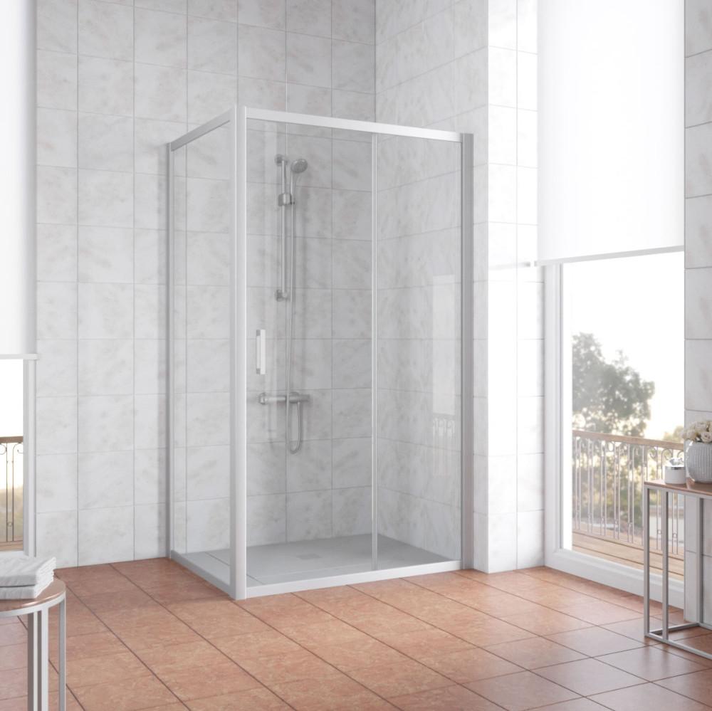 Душевой уголок Vegas Glass ZP+ZPV 100*80 07 01 профиль матовый хром, стекло прозрачное