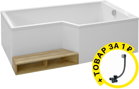 Акриловая ванна Jacob Delafon Bain-Douche Neo 180 R + слив-перелив