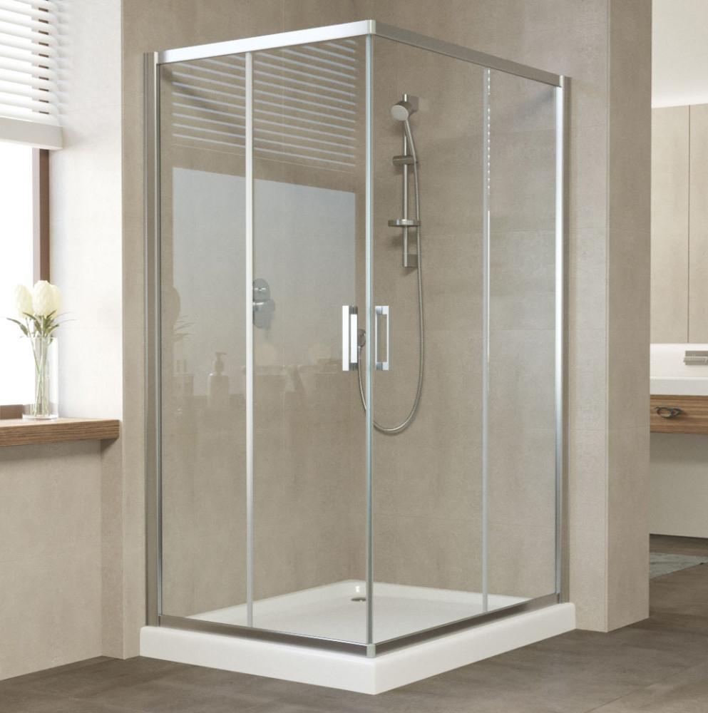 Душевой уголок Vegas Glass ZA-F 110*100 08 01 профиль глянцевый хром, стекло прозрачное