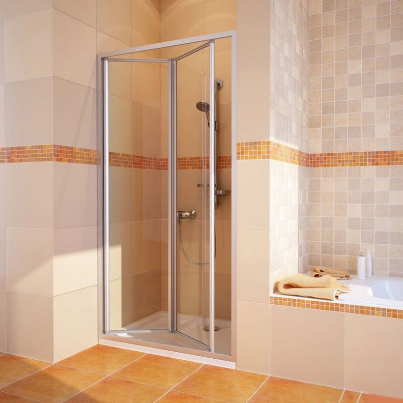 Душевая дверь в нишу GuteWetter Practic Door GK-404 левая (118-122)x190 стекло бесцветное, профиль мат. хром
