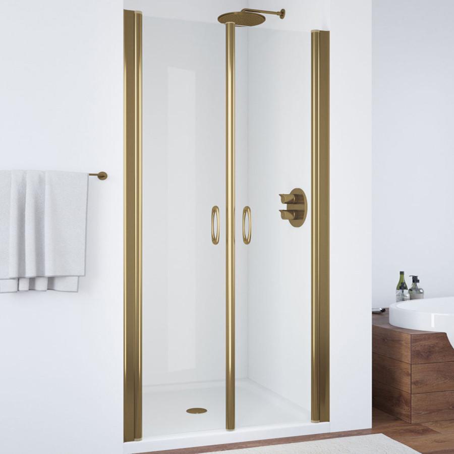 Душевая дверь в нишу Vegas Glass E2P 80 05 01 профиль бронза, стекло прозрачное
