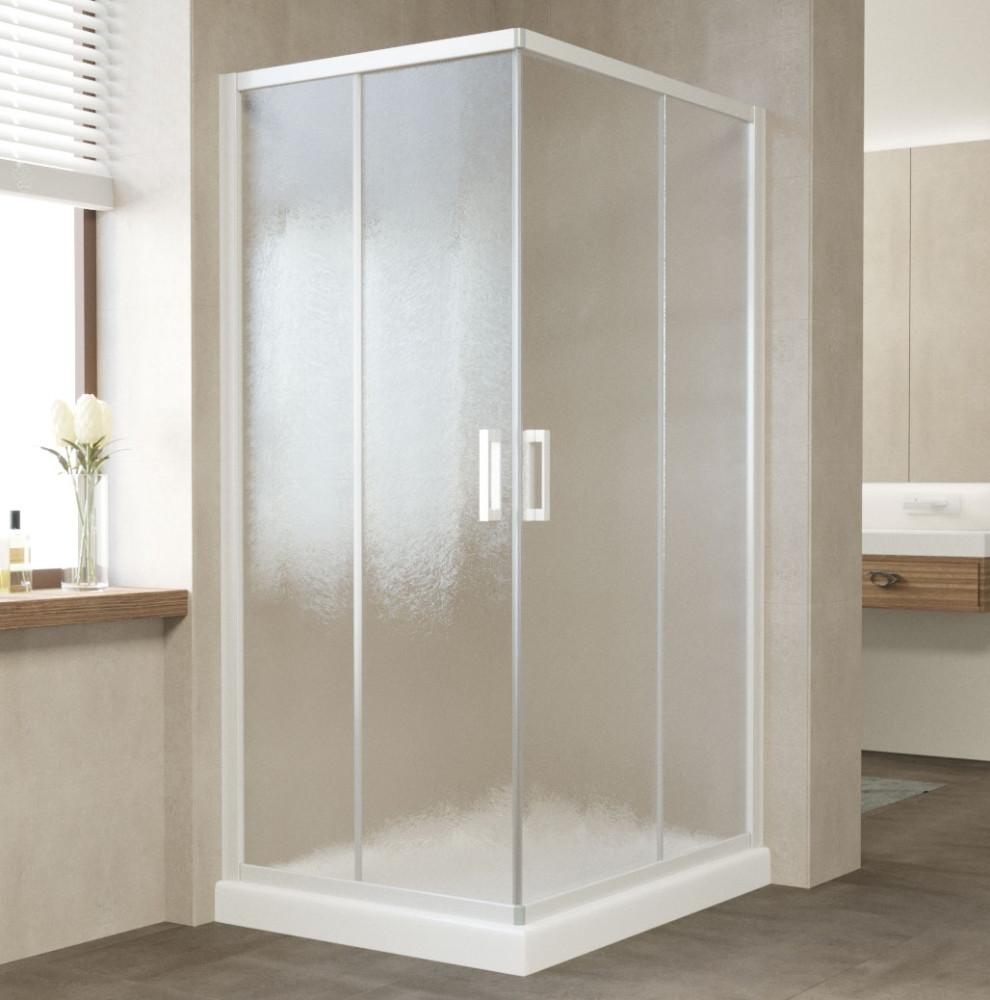 Душевой уголок Vegas Glass ZA-F 90*80 01 02 профиль белый, стекло шиншилла