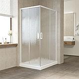 Душевой уголок Vegas Glass ZA-F 90*80 01 02 профиль белый, стекло шиншилла, фото 2