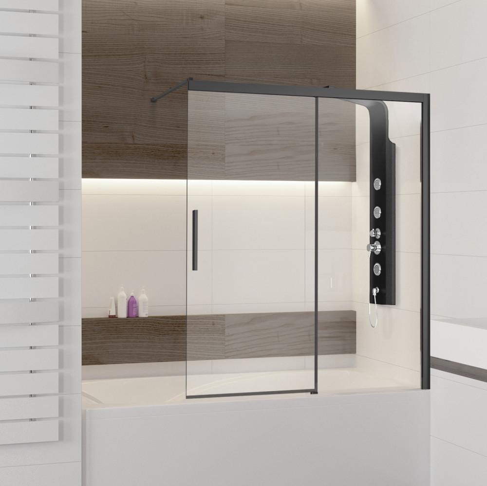 Шторка на ванну RGW Screens SC-43 120х160, профиль черный