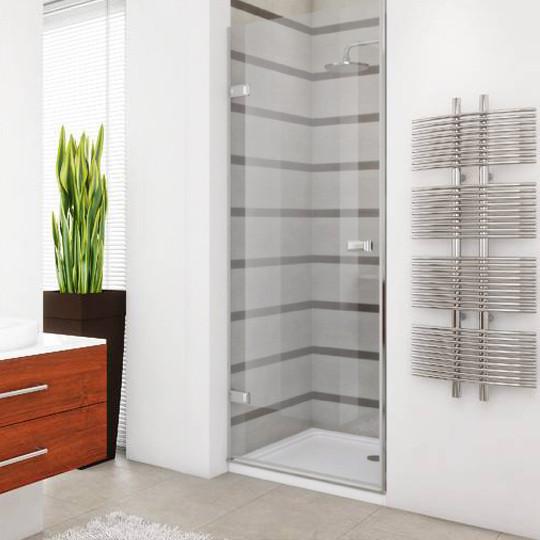 Душевая дверь в нишу GuteWetter Trend Door GK-861 левая 75 см стекло бесцветное Two, фурнитура хром
