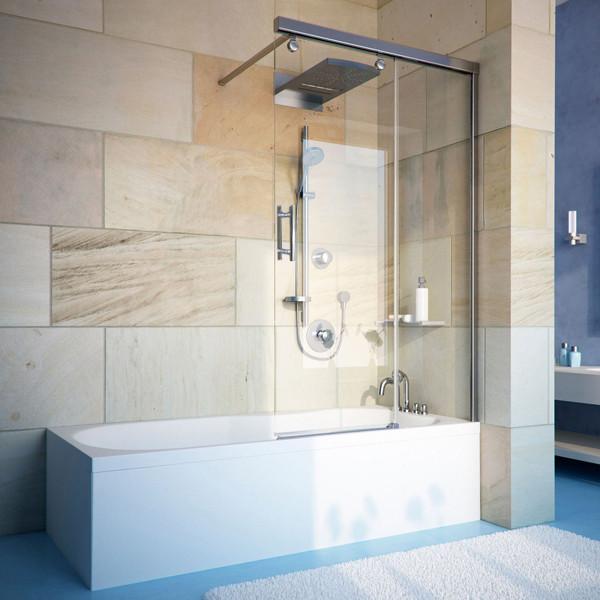 Шторка на ванну GuteWetter Slide Pearl GV-862 правая 75 см стекло бесцветное, профиль хром