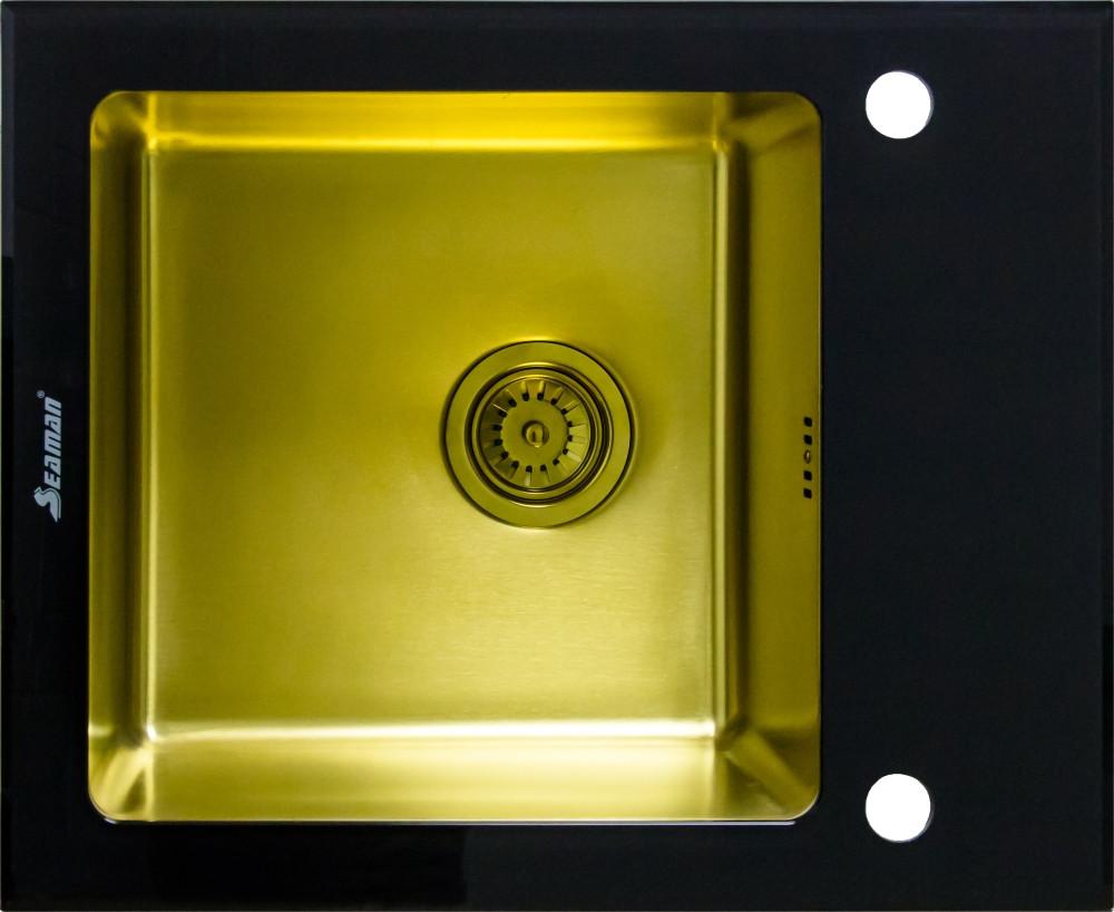 Мойка кухонная Seaman Eco Glass SMG-610B-Gold