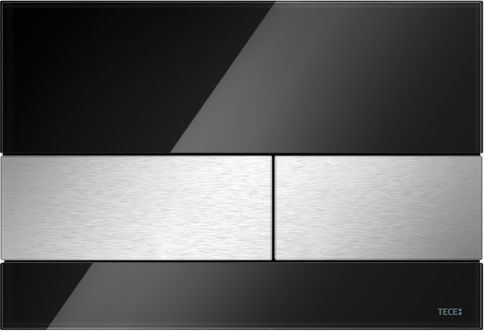Кнопка смыва TECE Square 9240806 черное стекло, кнопка сатин